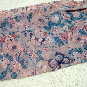 Scarf- butterfly and floral